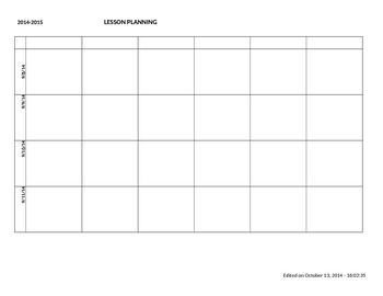 2014-2015 Weekly Lesson Planner