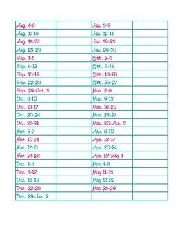 2014-2015 Weeks of School