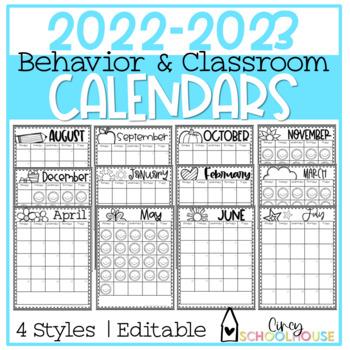 2018-2019 Yearly Behavior Calendars  *UPDATED*