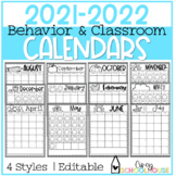 2019-2020 Yearly Behavior Calendars | Editable | Annual Updates | Easy to Use
