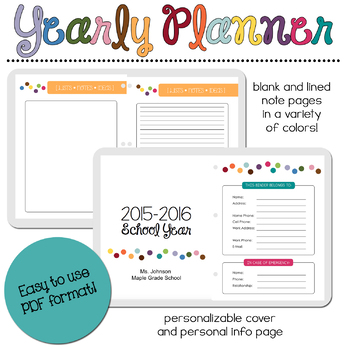 2016-2017 Yearly Planner Binder with Free Updates!