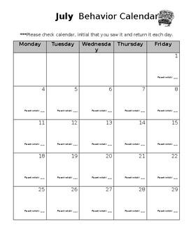 *EDITABLE* 12 month behavior calendar 2017-2018