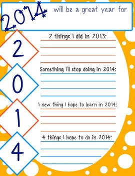 2014: A Short New Year's Writing Activity for Reflection and Projection FREEBIE