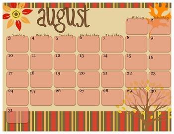 2014 Calendar for August