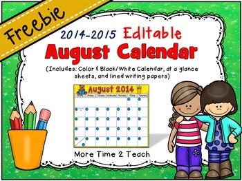 2014 EDITABLE August Calendar & Planning Sheets {FREEBIE}