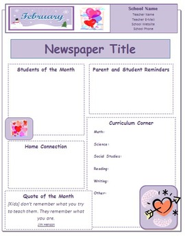 2014 February Classroom Newsletter Template