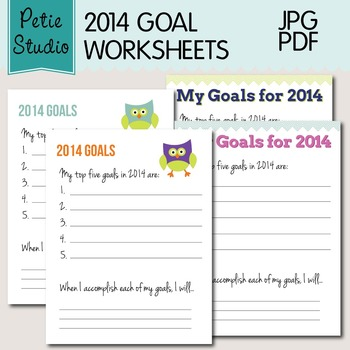 2014 Goal Worksheets Set of 4 - Whimsical Owls and Chevron Pattern