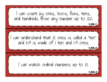 "2014 Indiana Standards  ""I can"" statements for 1st Grade Math"