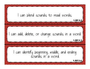 """2014 Indiana Standards  """"I can"""" statements for 1st Grade Reading"""