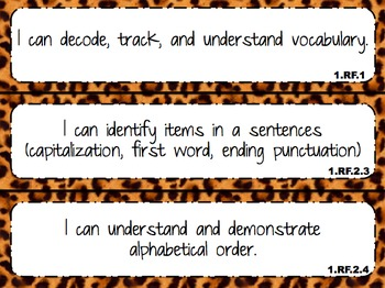 """2014 Indiana Standards  """"I can"""" statements for 1st Grade M"""