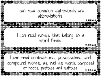 """2014 Indiana Standards  """"I can"""" statements for 2nd Grade Reading and Math"""