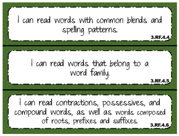"""2014 Indiana Standards  """"I can"""" statements for 3rd Grade M"""
