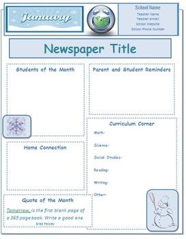 2014 January Classroom Newsletter Template