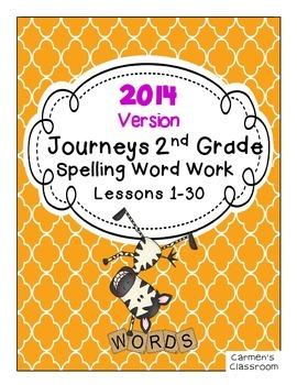 Second Grade 2nd Gr. Journeys 2014 Spelling Word Work Activity Sheets