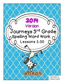 2014 Journeys Third Grade Spelling Word Work Activity Sheets