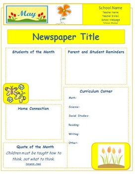2014 May Classroom Newsletter Template