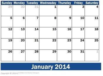 2014 Monthly Calendars and Calendar Activities