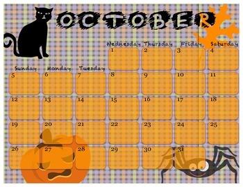 2014 October Calendar