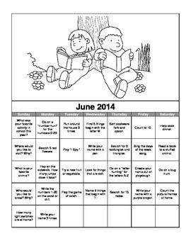 2014 Preschool Summer Activity Calendar in Spanish and English