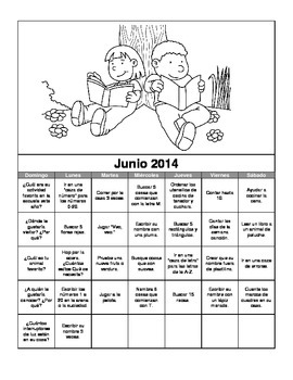 2014 Preschool Summer Activity Calendar in Spanish and English