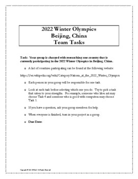 2018 PyeongChang Winter Olympics Collaborative Math Team Project (Middle School)