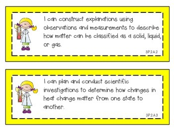 2014 South Carolina Science Standards for Third Grade SC 3rd I Can Statements