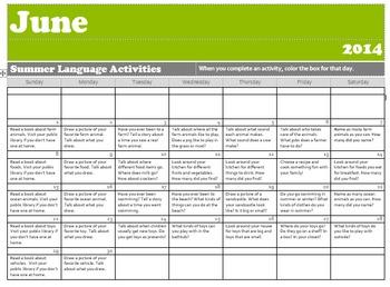 2014 Summer Language Activities Calendar- Free