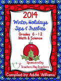 2014 Winter Holiday Tips and Freebies for Grades 6-12, Science / Math Version