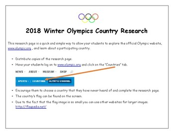 2014 Winter Olympic Country Research Page