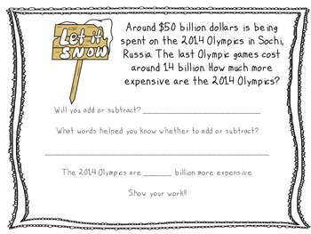 2014 Winter Olympics- A Subtraction Activity