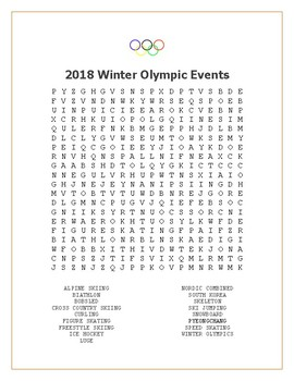 2014 Winter Olympics Events Word Search