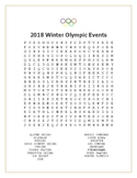 2018 Winter Olympics Events Word Search