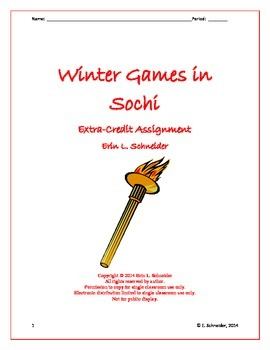 Winter Games in Sochi Choose Your Own Assignment