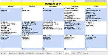 2014/2015 Google Doc Excel Calendar