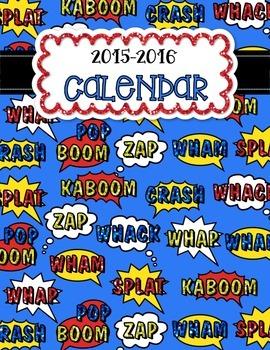Superhero Theme Editable Calendar