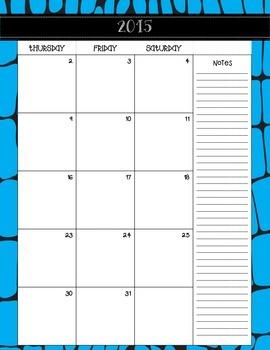 Editable Calendar-Wild Animal Theme