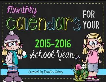 2015-16 Monthly Calendars FREEBIE!