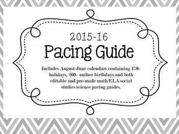 2015 16 pacing guide bundle by sprout classrooms tpt for Pacing calendar template for teachers