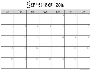 2017-18 Editable Calendar - Black & White Version