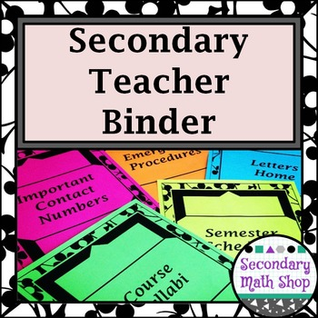 Teacher Binder 2016  - 17 (Secondary)  - Black and White F