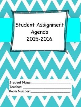 2015-16 Student Agenda in Teal Chevron