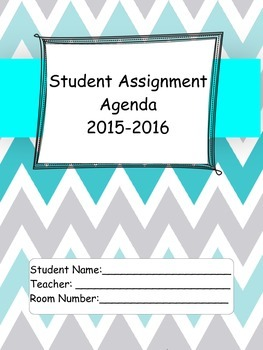 2015-16 Student Agenda in Teal and Grey Chevron