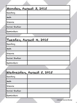 2015-16 Student Agenda in Grey Chevron