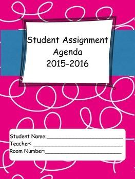 2015-16 Student Agenda in Pink Curls