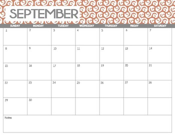 Monthly calendar 2017-2018