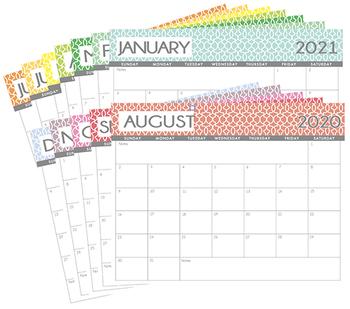 Calendario Coop 2020.Monthly Calendar 2019 2020 Worksheets Teaching Resources Tpt