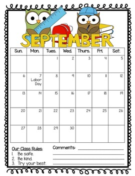 2015-2015 Behavior Calendars - Editable!