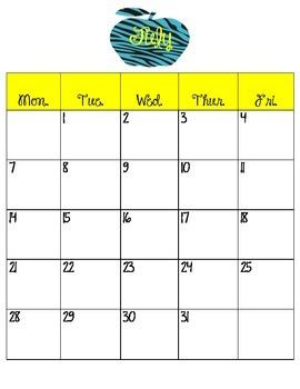 2014-2015 School Calendar Set - Zebra Style