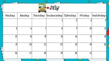 2015-2016 School Themed Calendar