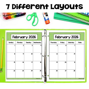 Editable 2017-2018 Calendar & Planner (3 Versions) in Pastel
